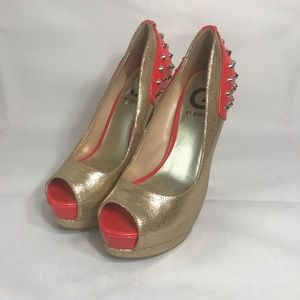 G by Guess Gold and Coral Studded Heels 6 platform
